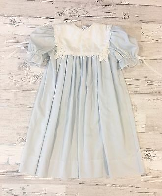 Amazing Vintage Peaches 'n Cream Blue Dress with Square Eyelet Lace Collar 4T