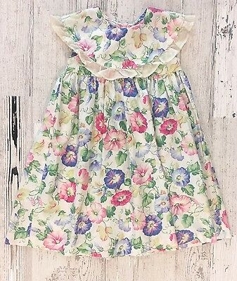 Vintage Girls Gorgeous Tent Floral Pansy Frock Dress