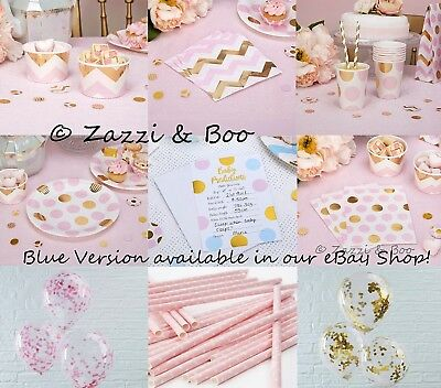 PINK & GOLD Baby Shower Girls Party Decorations Tableware Birthday Christening