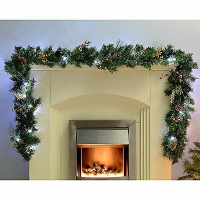 Christmas Pre-Lit Decorated Garland 40 White LED Lights Pine Cones 9ft Red/Gold