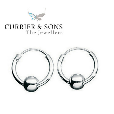 925 Sterling Silver Small 10mm with Ball Hoop Sleeper Earrings (Pair)