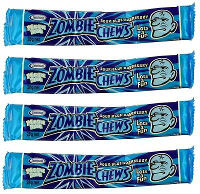 20 x Zombie Chews Sour Blue Raspberry Mega Size 28g Candy Buffet Bulk Lollies