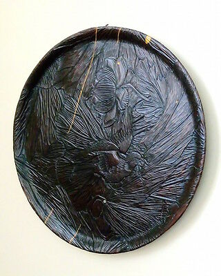 Large Antique Japanese Charger. Meiji Period.Wood Carving
