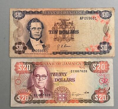 Older Bank of Jamaica $20, $10 Dollar Currency Notes
