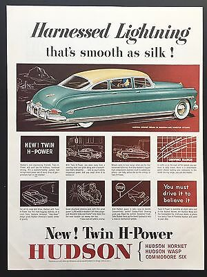 1952 Vintage Print Ad HUDSON HORNET SEDAN Illustration Turquoise Car