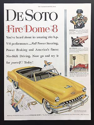 1952 Vintage Print Ad DESOTO Yellow Car Illustration Convertible Fire Dome 8