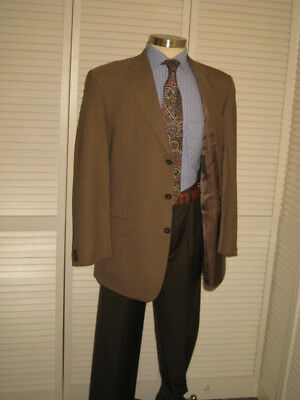 Ermenegildo Zegna Italy Mens Brown Wool Sport Coat Jacket Blazer 42L  #b7
