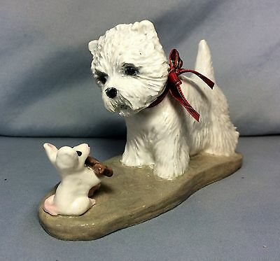 Westie terrier and mouse hand sculpted ceramic art sculpture OOAK by artist