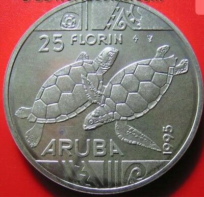 ARUBA 1995 25 FLORIN SILVER SEA TURTLE SWIMMING PRE-COLUMBIAN DESIGN CROWN 38mm