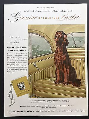 1952 Vintage Print Ad UPHOLSTERY LEATHER GROUP Yellow Ct Seat Dog Puppy