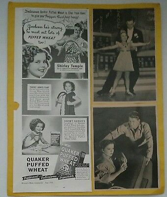 Shirley Temple Quaker Puffed Wheat Ad with Vintage Photos