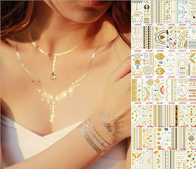UK Metallic Flash Gold Silver henna stencil Body Hair Temporary Tattoo sticker