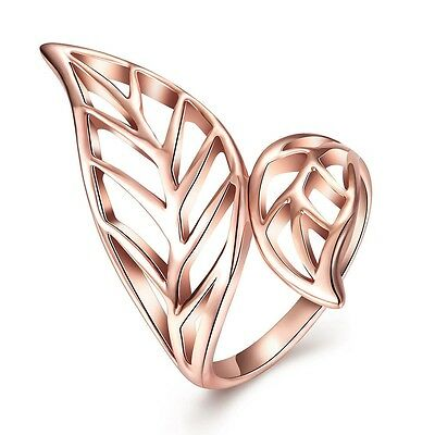 Women's Fashion Rose Gold Plated Leaf Elegant Ring Size 6/7/8