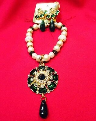Bollywood Kids Girls Indian Necklace Earrings Jewellery Set Beads White Green L