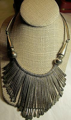 Navajo Collar Statement Handmade Silver Tone Necklace Artisan Vintage Old