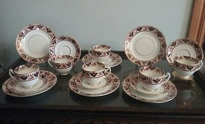 ANTIQUE  ENGLISH TEA SET x 6 ~ CUPS/SAUCERS/PLATES ~ STAMPED AND NUMBERED