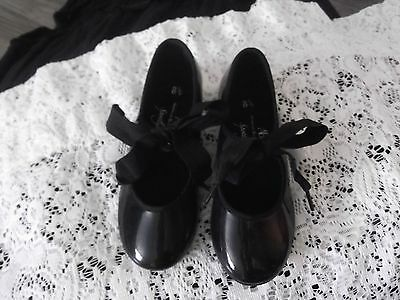 Girls Black Tap Shoes - Child's size 8 1/2 - NEW