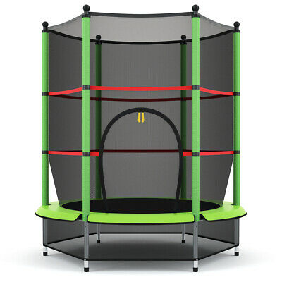 """55"""" Kids Mini Jumping Round Trampoline Exercise W/ Safety Pad Enclosure Combo"""