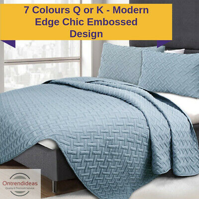 3 Piece Chic Embossed Comforter Set | 3pc Coverlet Bedding Set | Quilt Set