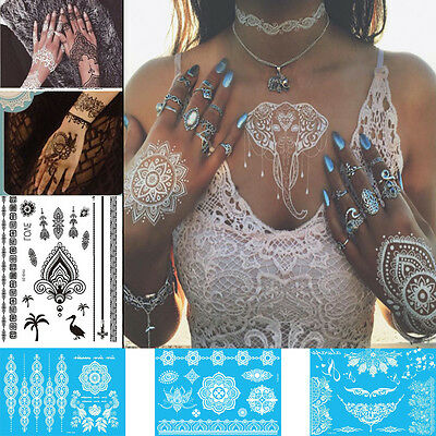 Black White Henna Lace chocker Body art hand arm Hair Stencil Temporary Tattoo
