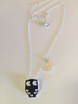 Silver Owl And Moon Girls Necklace