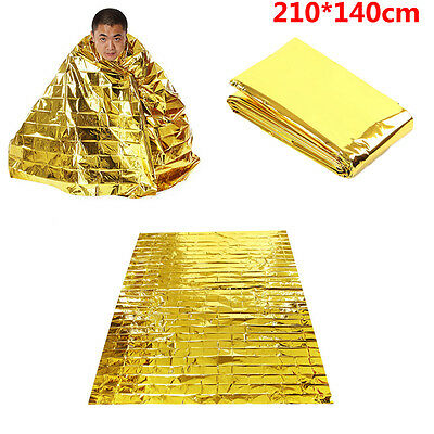 210*140cm Waterproof Survival Foil Thermal First Aid Gold Emergency Blanket