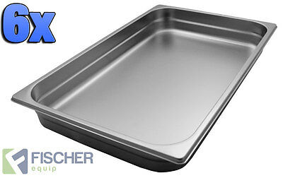 """BRAND NEW"" 6 PACK OF 1/1 STAINLESS STEEL GASTRONORM TRAYS 530mm x 325mm x 65mm"