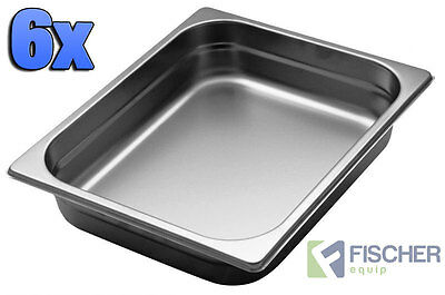 """BRAND NEW"" 6 PACK OF 1/2 STAINLESS STEEL GASTRONORM TRAYS 265mm x 325mm x 65mm"
