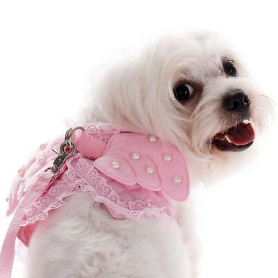 Size M Adjustable Wing Cotton Pet Dog Puppy Walking Collar Harness Lead Leash