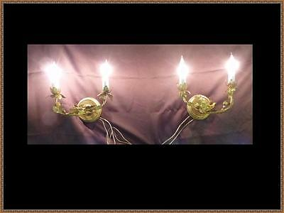 Vintage Pair French Leaf  Brass Wall Sconces Stamped Made in France Gorgeous!
