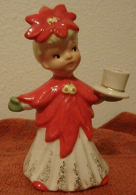 Vintage- Napco - Poinsettia Girl- Candle Holder- Made in Japan