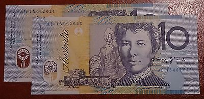 Australia 2015 LAST YEAR OF THE OLD $10 NOTES NORMAL Prefix UNC x 2 Cons (1)
