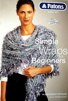 Patons Knitting Pattern Booklet - SIMPLE WRAPS for BEGINNERS  - 14 Easy Options
