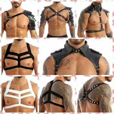 Sexy Men Faux Leather Armor Body Chest Harness Gothic Clubwear Halloween Costume