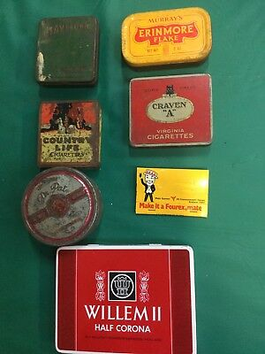 Old Vintage Cigarette tobacco advertising Tins Matches