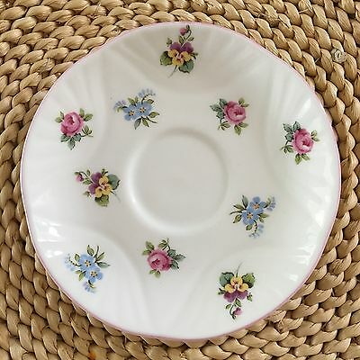 CROWN STAFFORDSHIRE  - Floral Bouquet  - Saucer - Scalloped - Pink Rim