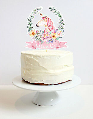 Personalised Unicorn Cake Topper - unicorn in pretty floral wreath.
