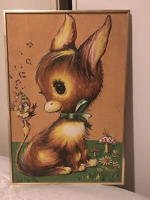 Vintage Kitsch Framed Big Eyed Donkey Tea Towel