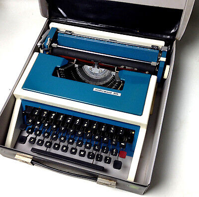 Vintage Blue UNDERWOOD 315 Portable Typewriter with Original Case For repair