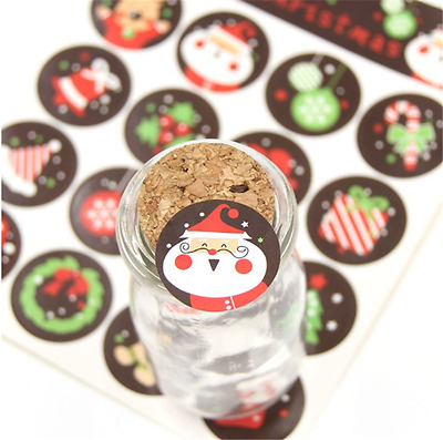 80X Merry Christmas Santa Claus Paper Gift Tags Stickers Biscuit Gift Decoration