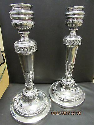 Pair of antique candlesticks Silver plated 30cm tall very heavy