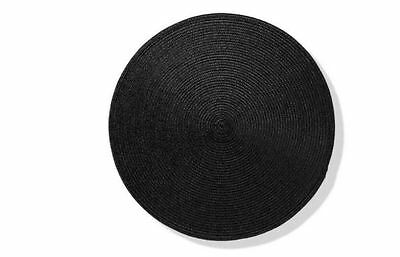 4 x Round Stylish Black Woven Look Placemats - Kitchen Dining Table - Black