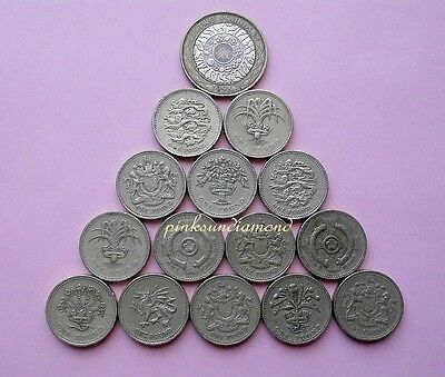 British £2 Two Pounds & £1 One Pound coins