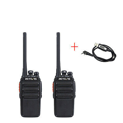 2x Walkie Talkies Retevis H777 16CH UHF400-470MHz 1000mAh Mobile Radio w/ Cable
