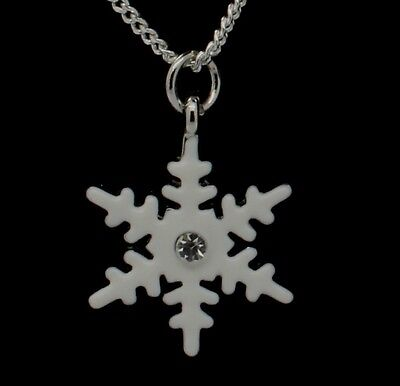 Perfect Winter Christmas Gift Crystal Snowflake Silver Sp Chain Charm Necklace