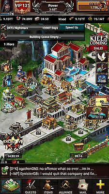 Game of War Account STRONGHOLD 61 VIP 131 HERO 74