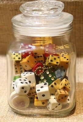 Vintage Jar FULL of Dice-70 Total-Bakelite, Lucite, Wood, Glass-Double Dotted