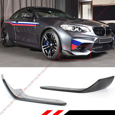 2 Pcs Add-On Carbon Fiber Front Bumper Splitters Lip For 2016-2018 Bmw F87 M2