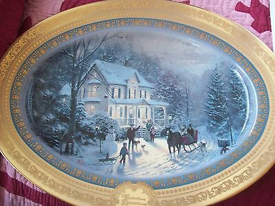 "BRADFORD EXCHANGE Thomas Kincade 16"" DECORATIVE PLATE ""Home for the Holidays"""