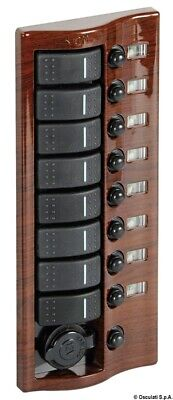 Mahogany Coated Electric Control Panel with 8 Flush Rocker Switches Osculati